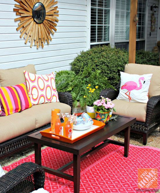 Patio Decor Ideas: Colorful Poolside Seating by Cassie | Farmhouse .