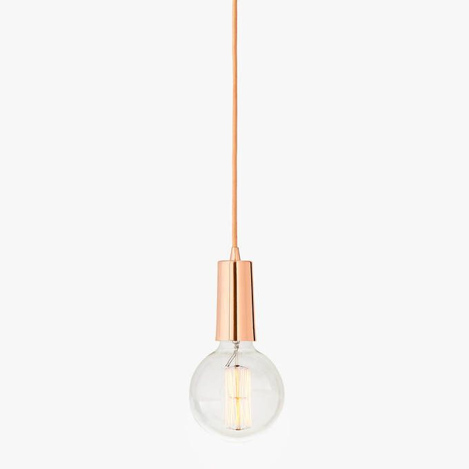 Rose Gold Single-Bulb Hanging Textile Cord Pendant with Vintage .