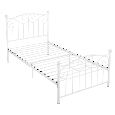 Topeakmart Single Bed Frame Metal Twin Bed Frame White - Walmart .
