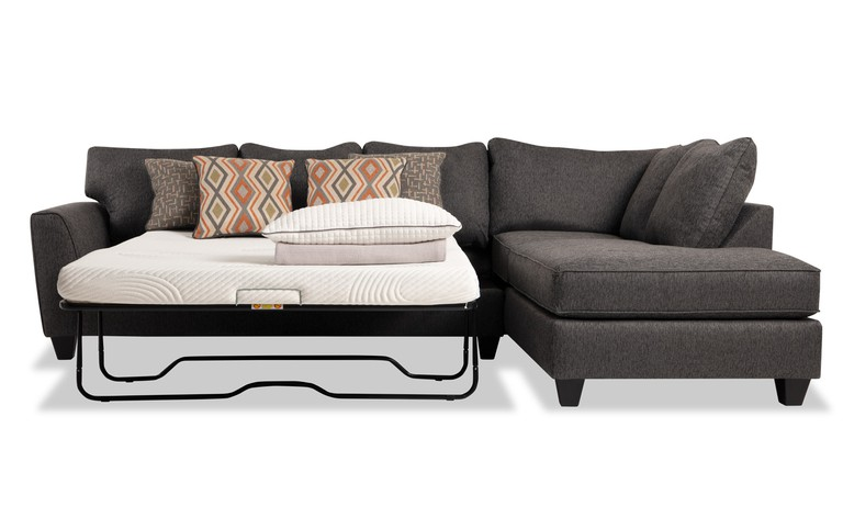 Capri Graphite Left Arm Facing Full Bob-O-Pedic Sleeper Sectional .