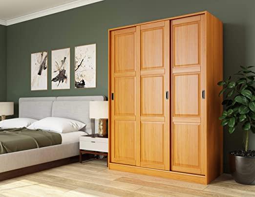 Amazon.com: 100% Solid Wood 3-Sliding Door Wardrobe/Armoire/Closet .