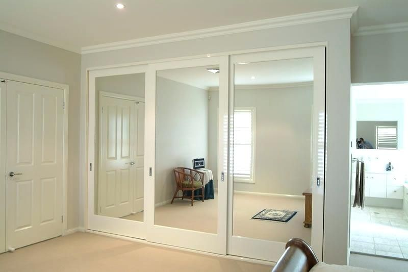 Triple mirror closet door | Sliding wardrobe doors, Sliding mirror .