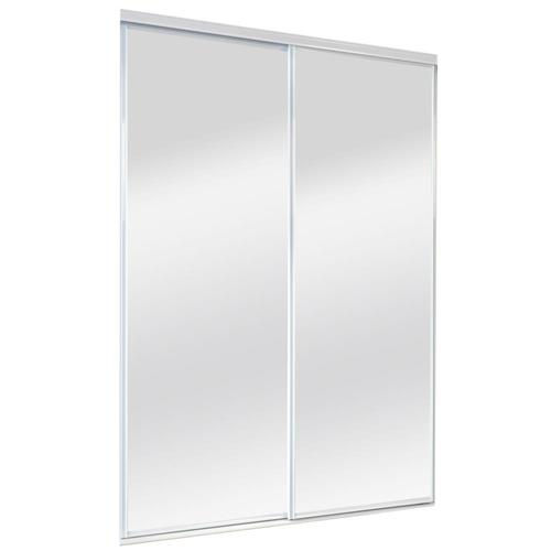 ReliaBilt 9500 Series White Mirror/Panel Steel Sliding Closet Door .