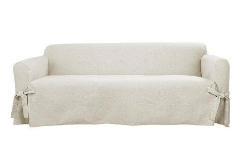 Farmhouse Basketweave Sofa Slipcover Oatmeal - Sure Fit : Targ