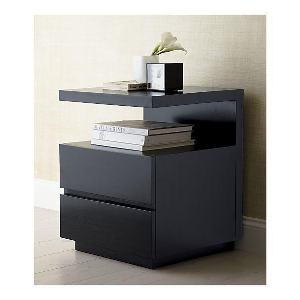 Pavillion Black Nightstand for bedroom (CB2) | Bedside table .