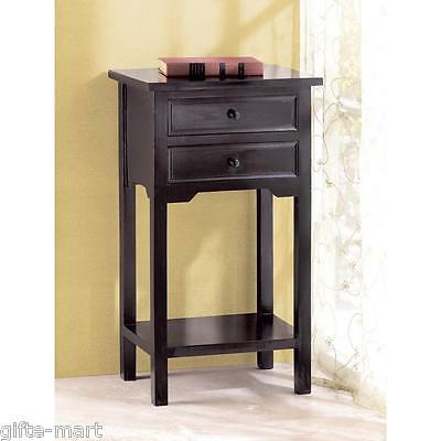 "modern black small 16"" End side bedside Table bedroom Nightstand 2 ."