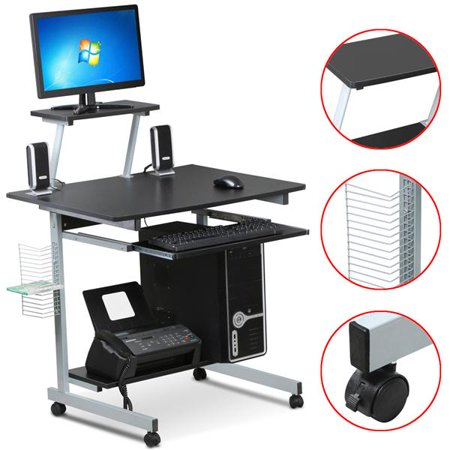 Mobile Computer Desks with Keyboard Tray, Printer Shelf and .