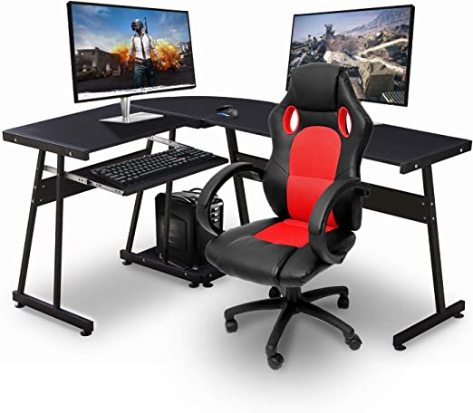 Amazon.com: Ivinta Reversible Black Gaming Desk Corner Desk Modern .