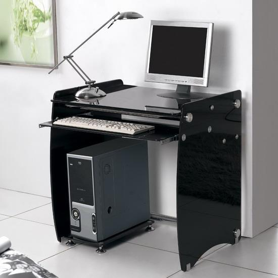 Black glass computer desk workstation small - kk furniture suppli