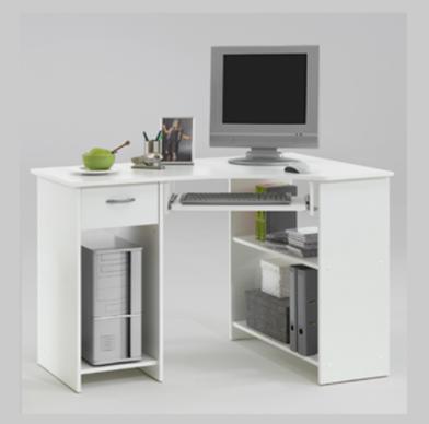 Small White Corner Desk | White computer desk, Corner computer .