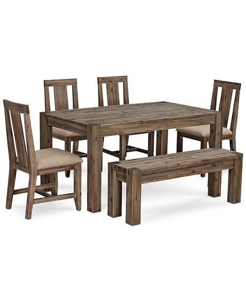 "Furniture Canyon Small 6-Pc.Dining Set, (60"" Dining Table, 4 Side ."
