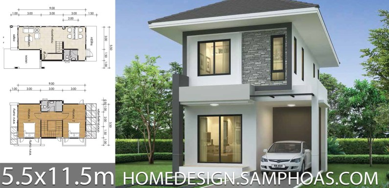 Small House design plans 5.5x11.5m with 2 bedrooms - Home Ide