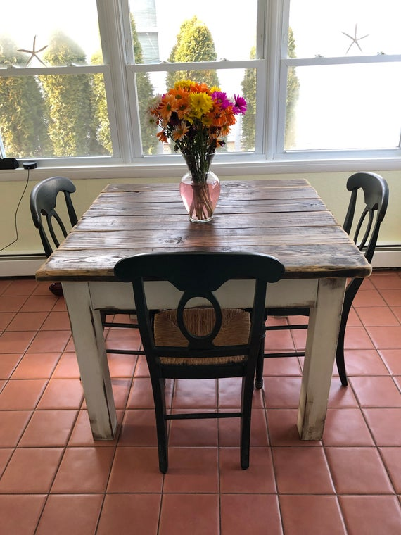 RUSTIC FARMHOUSE TABLE Small Kitchen Dining Farm House | Et