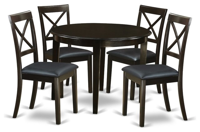 5-Piece Small Kitchen Table And Chairs Set, Round Table And 4 .