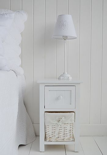 Small bedside table ideas | Furniture | Small white bedside table .