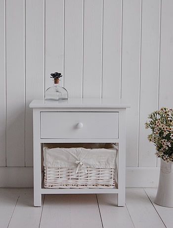 Small White Bedside Cabinet - Two drawer white bedside table (With .