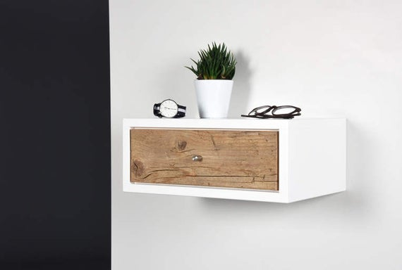 White Floating nightstand bedside table drawer in solid old | Et