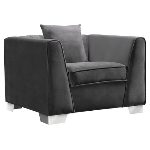 Armen Living Cambridge Contemporary Sofa Chair Velvet Dark Gray .