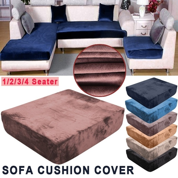7 Colors Universal Plush Sofa Cushion Covers High Stretch Fleece .