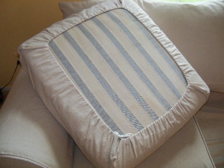 Easy DIY Drawstring Seat Cushion Cover | Diy couch, Slipcovers .