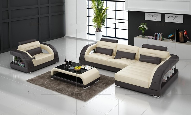 Modern sectional leather sofa for living room sofa L shaped sofa .