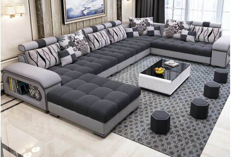 new arrival modern design u shaped sectional 7 seater fabric .