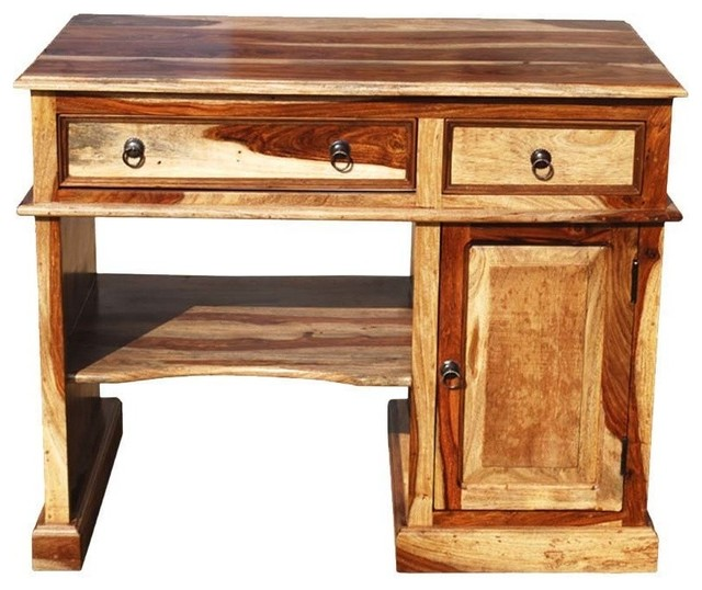 Solid Wood Computer Desk For Small Space - Rustic - Desks And .
