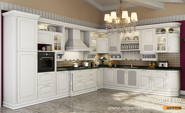 Traditional Birch Solid Wood Kitchen Cabinet OP14-007- OPPEIN .