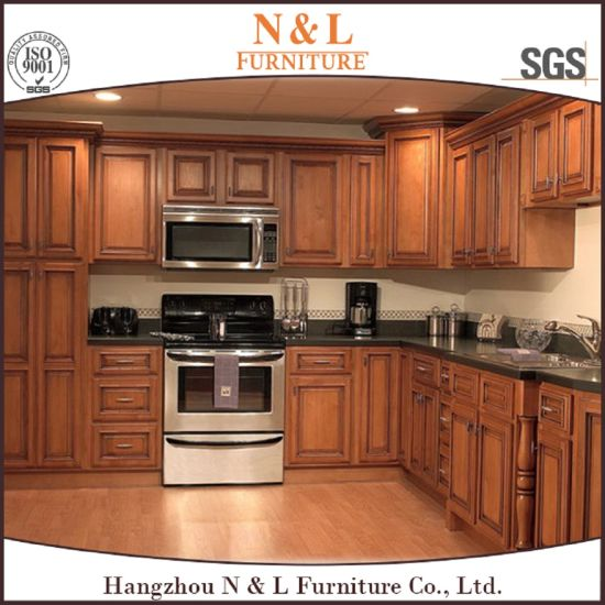 China American Style Red Cherry Solid Wood Kitchen Cabinets .