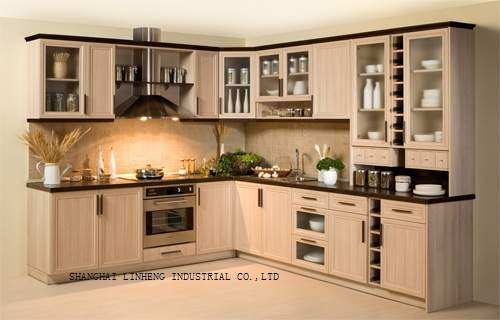 Modern solid wood kitchen cabinet (LH SW008)|wood kitchen cabinets .