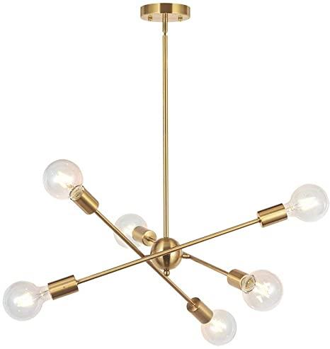 Amazon.com: BONLICHT Modern Sputnik Chandelier Lighting 6 Lights .