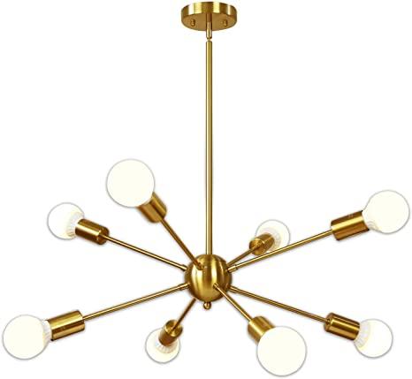Amazon.com: Sputnik Chandelier 8 Light Brushed Brass Pendant .