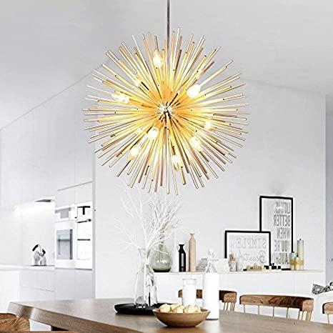 Golden Sputnik Chandelier Ceiling Light Lamp Pendant Lighting .