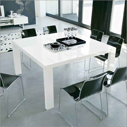 Modern Square Dining Table In Glossy White | White dining table .