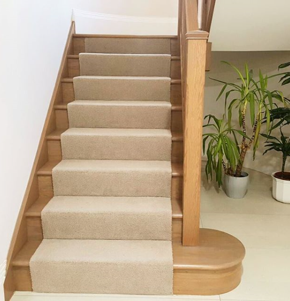 Great to see this one finished; oak stairs with carpet runner .