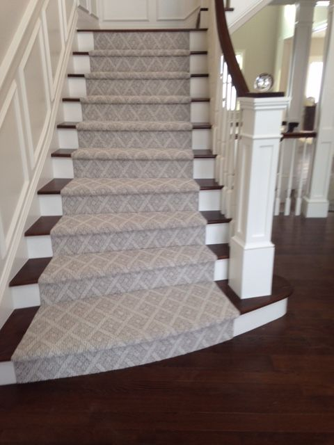 We love this stunning patterned stair runner in a soft beige. If .