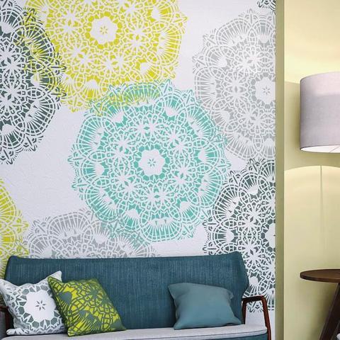 Mandala Style Stencil - Unique Geometric Wall Painting Stencil .