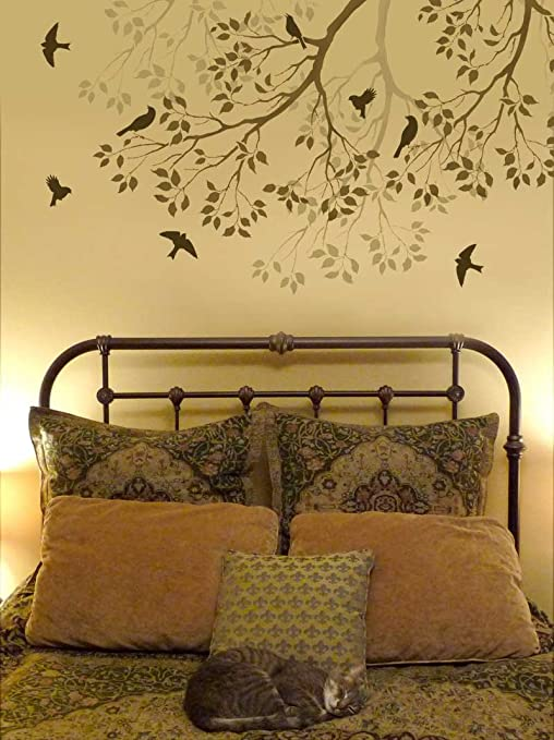 Wall Stencil Spring Songbirds - Reusable stencils better than .