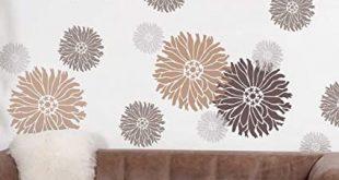 Amazon.com: Starburst Zinnia Floral Wall Art Stencil - X-Small .