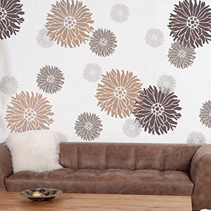 Amazon.com: Starburst Zinnia Floral Wall Art Stencil - X-Small .