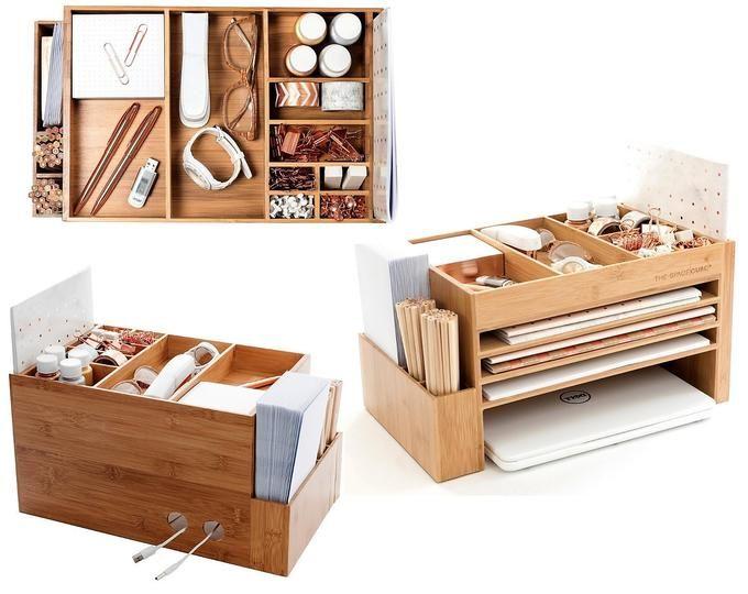 Modern Wood Home Office Supplies Desk Organiser | Desktop Shelf .
