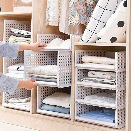 Yoillione Plastic Wardrobe Storage Organiser Wardrobe Closet .