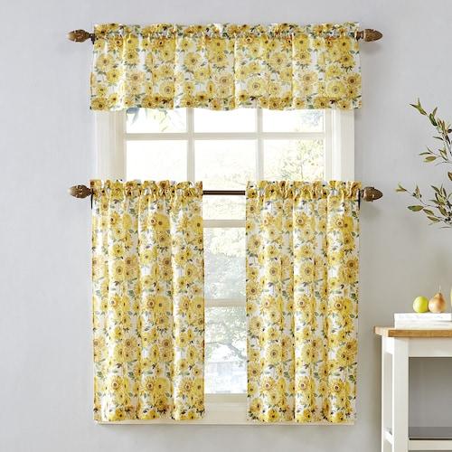 Top of the Window Sunflower Tier Kitchen Window Curtai