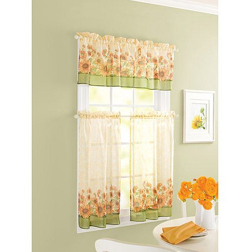 sunflower theme kitchen curtains windows Walmart | Sunflower .