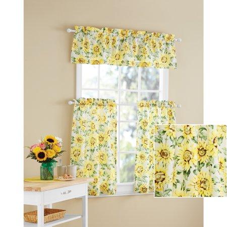 Mainstays Sunflower 3-Piece Kitchen Curtain Tier and Valance Set .