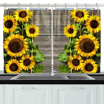 Sunflower wood board Kitchen Curtains 2 Panel Set Decor Window .