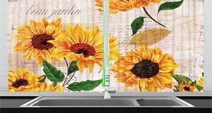 Amazon.com: Lunarable Sunflower Kitchen Curtains, Romantic Flowers .