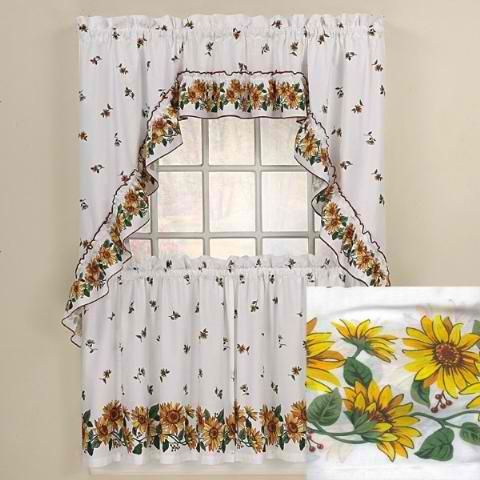 Sunflowers Kitchen Curtains Swag Set | Kitchen curtains, Curtains .