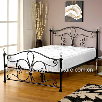 New White Metal Bedframe Bed Frame Super King Size 180x200 Cm Incl .