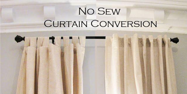 No Sew Curtain Conversion | No sew curtains, Curtains, Diy curtai